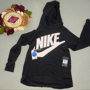 Girls Black Nike Hoodie with White Nike Check
